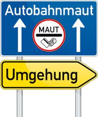 Schild mit Umleitung zur Autobahn-Maut