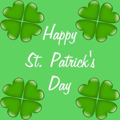 Happy St. Patrick's Day mit grünen Kleeblättern aus Herzen