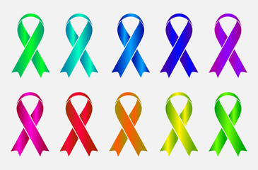 Set of colorful awareness ribbons isolated on white background.