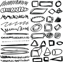 Doodle, set hand drawn shapes, line, circle, square