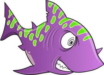 Purple Crazy Shark Vector Illustration Art