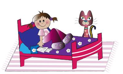 Niña descansando en la cama y su gato.