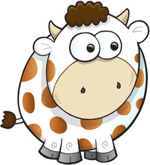 Silly Farm Cow Vector Illustration Art
