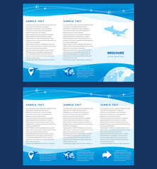 Vector brochure tri-fold layout design template airplane takeoff