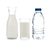 drinking water and milk on white background - 76378191