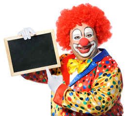 Clown with blank board isolated on white
