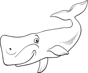 whale animal cartoon coloring page