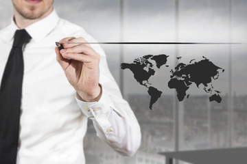 businessman drawing line and worldmap in the air