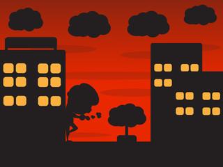 Night city and badman cartoon