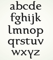 Minuscule Alphabet inspired by the Foundational Hand