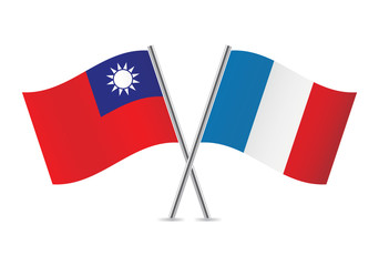 French and Taiwanese flags. Vector illustration.