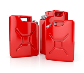 Fuel container canisters. 3d illustration isolated