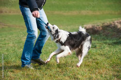 canvas print picture Mann spielt mit Hund