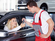 canvas print picture - Key delivery between customer and mechanic