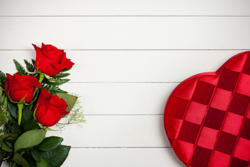 Valentine's: Heart Candy Box and Flowers