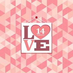 Happy valentines pink geometric greeting cards
