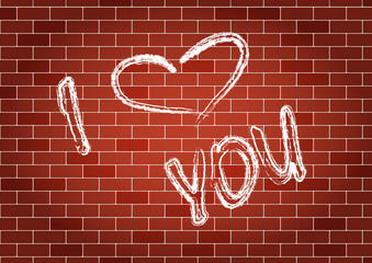 Inscription I love you on the wall