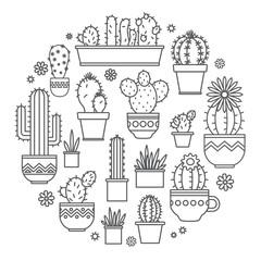 linear design potted cactus. corporate logo.