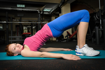 young girl do stretching