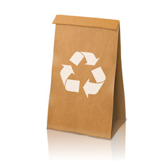 Blank craft vector realistic paper packaging bag with recycle