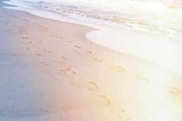 footprints on the coast