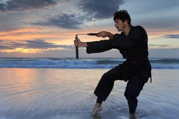 Arts martiaux au coucher du soleil