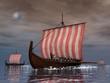 Drakkars or viking ships - 3D render - 76381160
