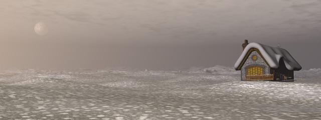 Cottage in winter - 3D render
