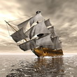Pirate Ship - 3D render - 76381539