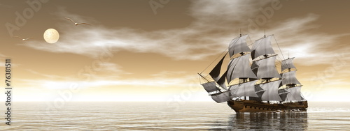 Old merchant ship - 3D render - 76381511