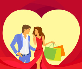 valentine day holiday shopping couple in heart shape, Valentine