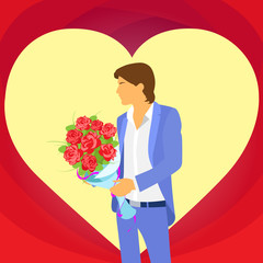 valentine day holiday man in heart shape, Valentine's rose