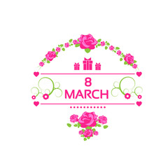 8 march pink gift card with rose isolated white