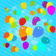 Flying colorful balloons flat icon blue background vector