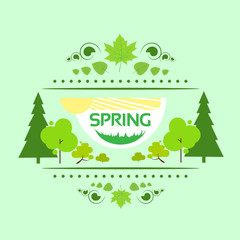 spring gift card banner green tree vector