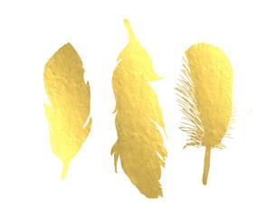 Gold Foil Bird Feather