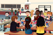 Kids eating at the school cafeteria - 76382390