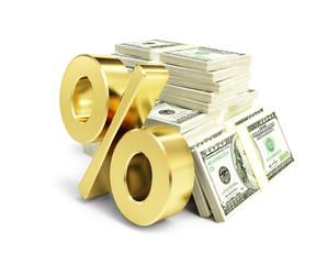 interest, gold dollar sign, many packs of dollars
