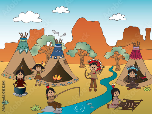 american indian village - 76382304