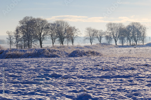 Winter landscape view fields forests covered snow - 76382396