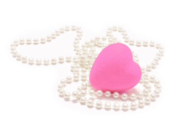 Heart and pearl. Valentines day.