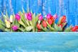 Obrazy na płótnie, fototapety, zdjęcia, fotoobrazy drukowane : Frühling Blumen Holzhintergrund