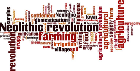 Neolithic revolution word cloud concept. Vector illustration