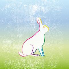 Ostergruß - Osterhase auf Frühlingswiese