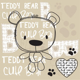 Fototapety cute teddy bear with paw vector illustration