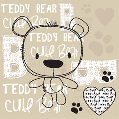 cute teddy bear with paw vector illustration