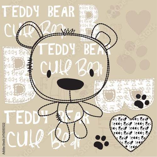 cute teddy bear with paw vector illustration © yoliana