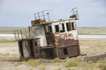 Remains of fishing boats at the sea bed of Aral sea, Kazakhstan.