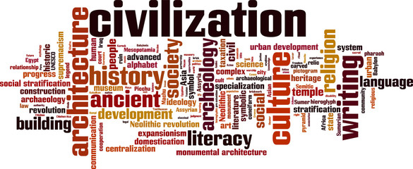 Civilization word cloud concept. Vector illustration