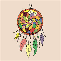 Dreamcatcher, feathers and beads. Native american indian dream c